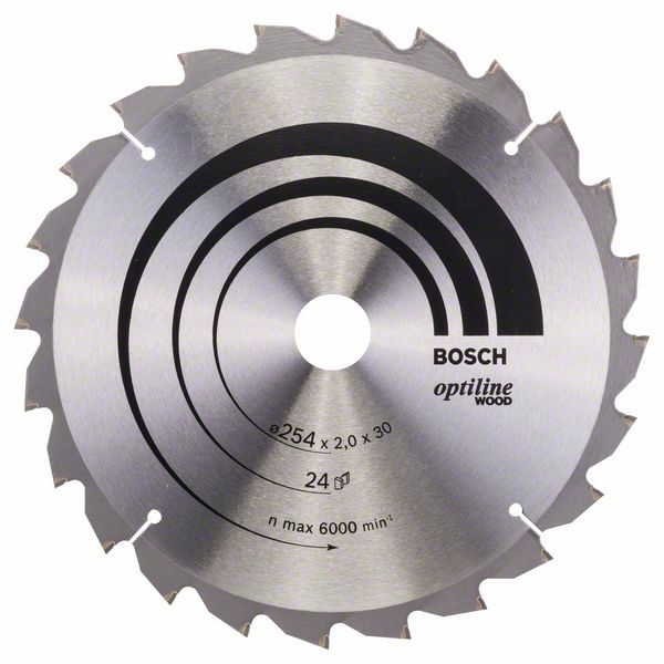 Pilový kotouč Bosch 254 x 30 x 2,0 mm, 24 z, 2608640434 Optiline Wood