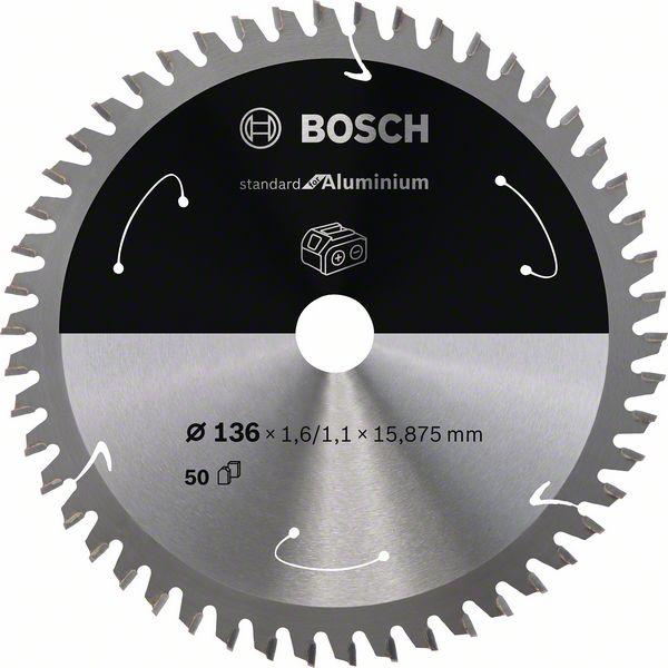 Pilový kotouč Bosch 136 x 15.875 x 1,6 mm, 50 z, 2608837753 Standard for Aluminium pro aku pily