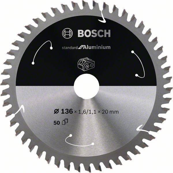Pilový kotouč Bosch 136 x 20 x 1,6 mm, 50 z, 2608837754 Standard for Aluminium pro aku pily