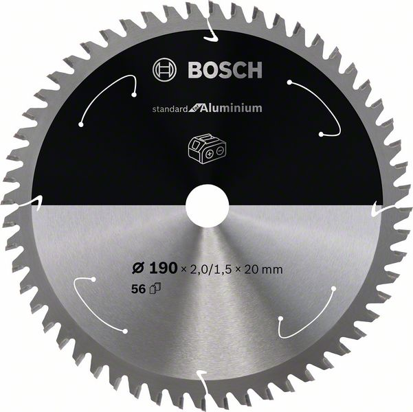 Pilový kotouč Bosch 190 x 20 x 2,0 mm, 56 z, 2608837769 Standard for Aluminium pro aku pily