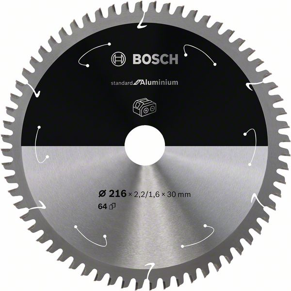Pilový kotouč Bosch 216 x 30 x 2,2 mm, 64 z, 2608837777 Standard for Aluminium pro aku pily