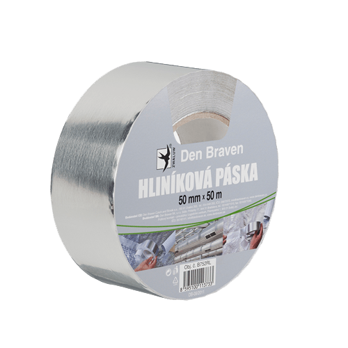 Den Braven B752RL Hliníková páska, 50 mm x 50 m