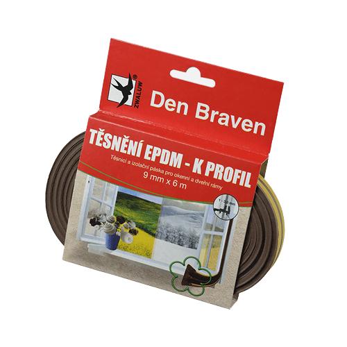 Den Braven B45501 Těsnicí profil z EPDM pryže, K profil, 9x4 mm, 6 m, hnědý
