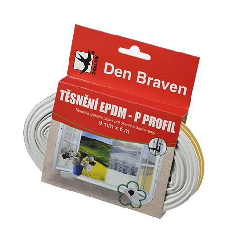 Den Braven B45502 Těsnicí profil z EPDM pryže, P profil, 9x5,5 mm, 6 m, bílý