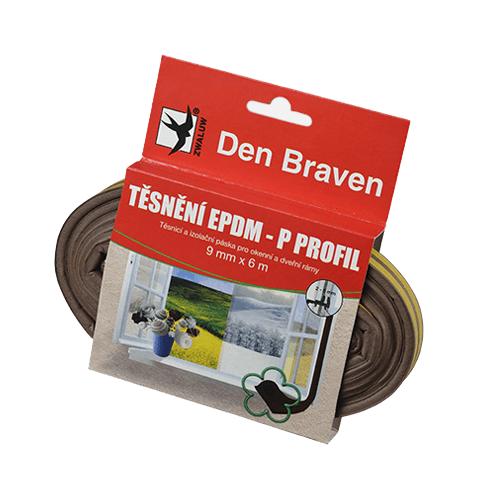 Den Braven B45503 Těsnicí profil z EPDM pryže, P profil, 9x5,5 mm, 6 m, hnědý