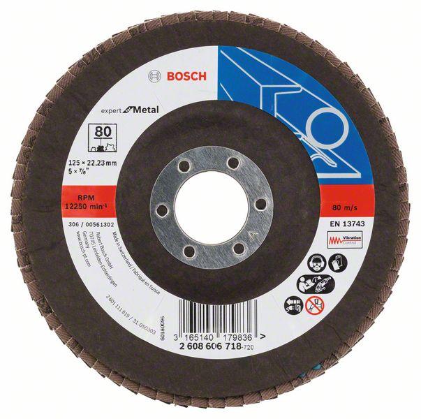 Lamelový kotouč šikmý 125 mm, P80, Bosch 2608606718 Expert for Metal