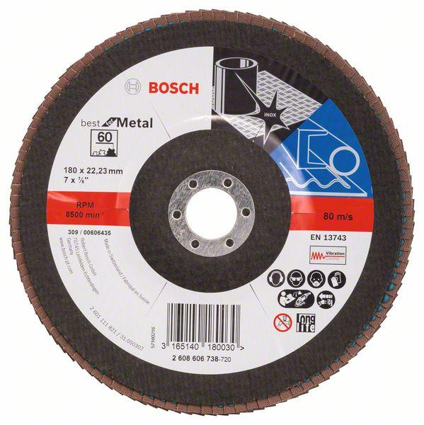 Lamelový kotouč šikmý 180 mm, P60, Bosch 2608606738 Best for Metal