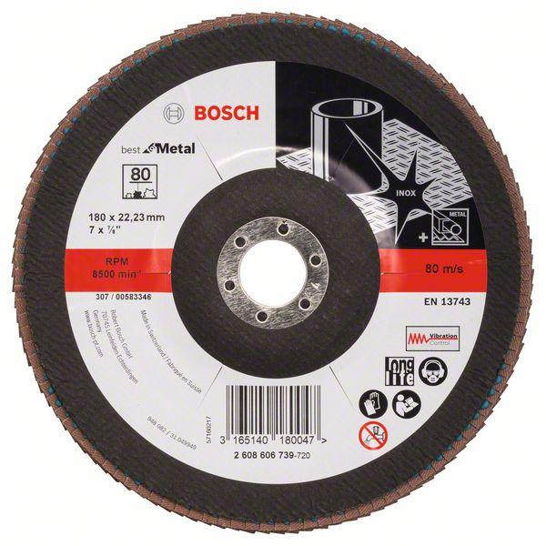 Lamelový kotouč šikmý 180 mm, P80, Bosch 2608606739 Best for Metal