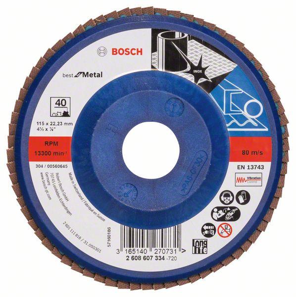 Lamelový kotouč rovný 115 mm, P40, Bosch 2608607334 Best for Metal