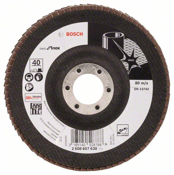 Lamelový kotouč šikmý 125 mm, P40, Bosch 2608607638 Best for Inox