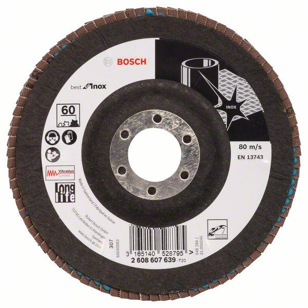 Lamelový kotouč šikmý 125 mm, P60, Bosch 2608607639 Best for Inox