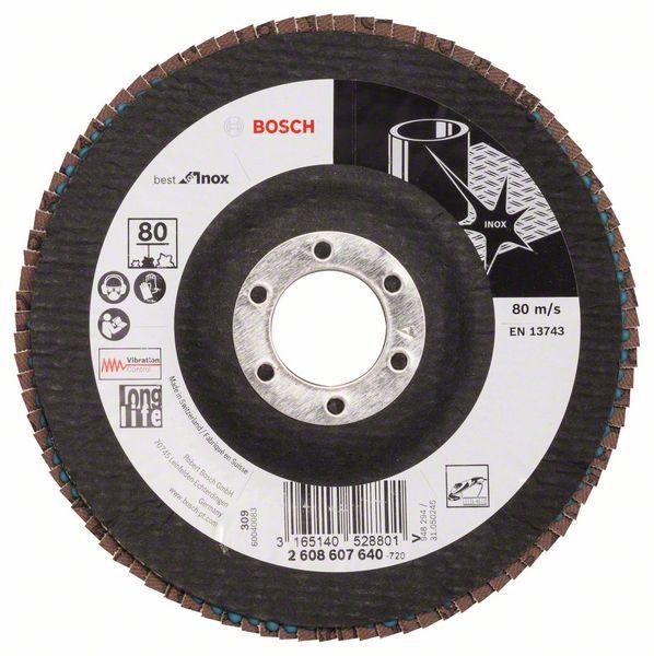 Lamelový kotouč šikmý 125 mm, P80, Bosch 2608607640 Best for Inox