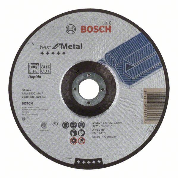 Vydutý řezný kotouč 180x1,6x22,23 Bosch 2608603521 Rapido Best for Metal
