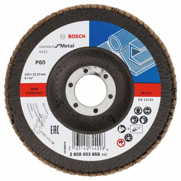 Lamelový kotouč šikmý 125 mm, P80, Bosch 2608603658 Standard for Metal