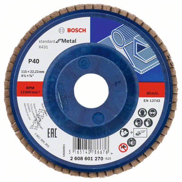 Lamelový kotouč rovný 115 mm, P40, Bosch 2608601270 Standard for Metal