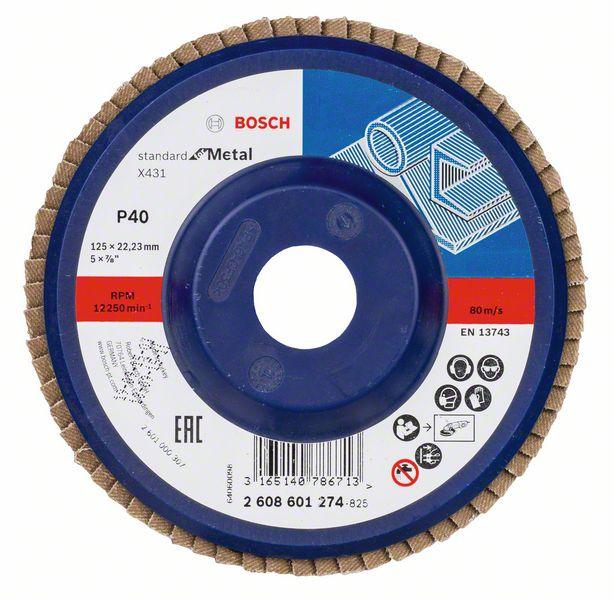 Lamelový kotouč rovný 125 mm, P40, Bosch 2608601274 Standard for Metal