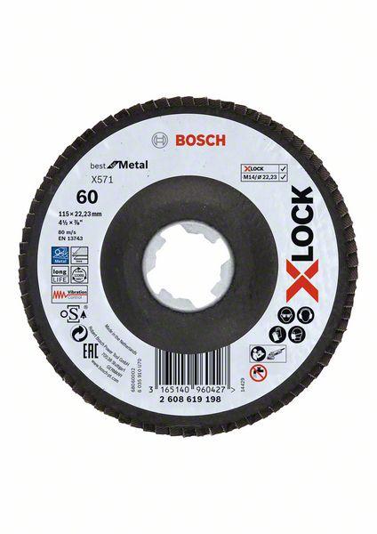 Lamelový kotouč šikmý X-LOCK 115 mm, P60, Bosch 2608619198 Best for Metal