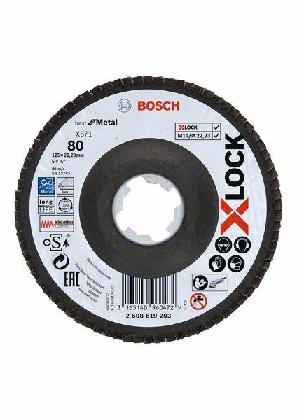 Lamelový kotouč šikmý X-LOCK 125 mm, P80, Bosch 2608619203 Best for Metal