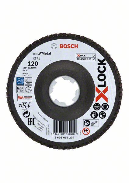 Lamelový kotouč šikmý X-LOCK 125 mm, P120, Bosch 2608619204 Best for Metal
