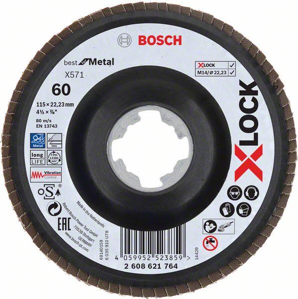 Lamelový kotouč šikmý X-LOCK 115 mm, P60, Bosch 2608621764 Best for Metal