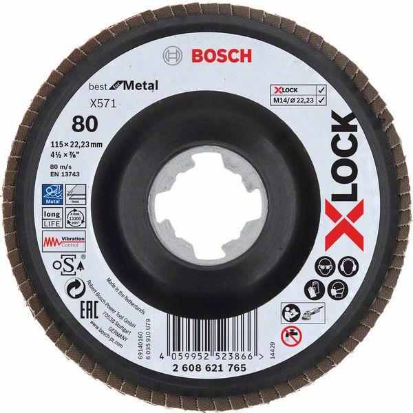Lamelový kotouč šikmý X-LOCK 115 mm, P80, Bosch 2608621765 Best for Metal