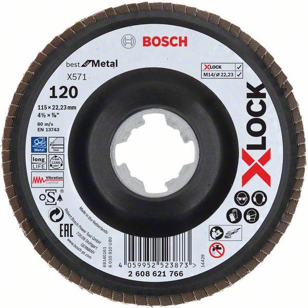Lamelový kotouč šikmý X-LOCK 115 mm, P120, Bosch 2608621766 Best for Metal