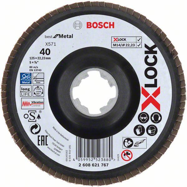 Lamelový kotouč šikmý X-LOCK 125 mm, P40, Bosch 2608621767 Best for Metal