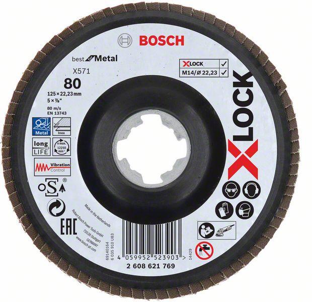 Lamelový kotouč šikmý X-LOCK 125 mm, P80, Bosch 2608621769 Best for Metal