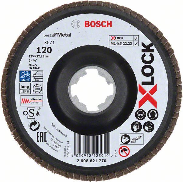 Lamelový kotouč šikmý X-LOCK 125 mm, P120, Bosch 2608621770 Best for Metal