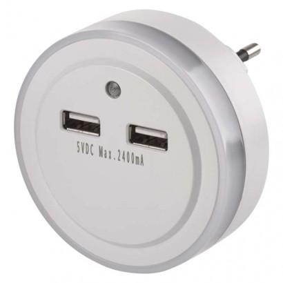 Emos P3313 LED noční světlo P3313 do zásuvky s 2× USB