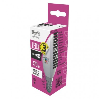 Emos ZQ3228 LED žárovka Classic Candle 6W E14 neutrální bílá Ra96