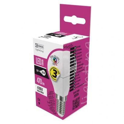 Emos ZQ1224 LED žárovka Classic Mini Globe 6W E14 neutrální bílá Ra96