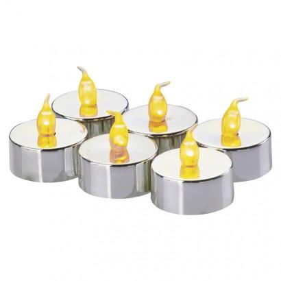 Emos ZY2150 LED dekorace – 6× čajová svíčka stříbrná, 6× CR2032