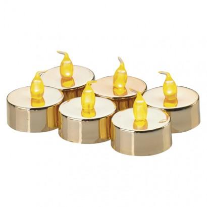 Emos ZY2151 LED dekorace – 6× čajová svíčka zlatá, 6× CR2032