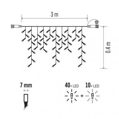 Emos ZY2286 Profi LED spoj. řetěz problikávající – rampouchy 3m, t. bílá