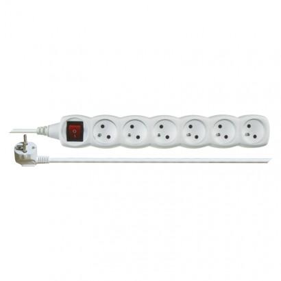 Emos P1612 Prodlužovací kabel s vypínačem – 6 zásuvky, 2m, bílý