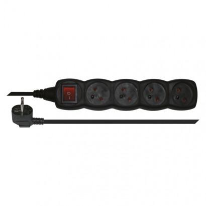 Emos PC1413 Prodlužovací kabel s vypínačem – 4 zásuvky, 3m, černý