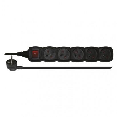 Emos PC1513 Prodlužovací kabel s vypínačem – 5 zásuvek, 3m, černý