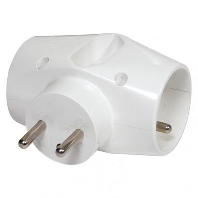 Emos P0023 Rozbočovací zásuvka 2× kulatá + 1× plochá, bílá