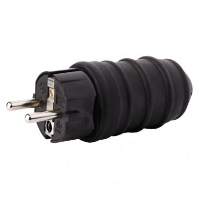 Emos P0050 Vidlice gumová přímá pro prodlužovací kabel, černá