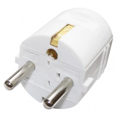 Emos P0034 Vidlice přímá pro prodlužovací kabel, bílá