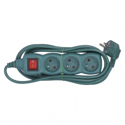 Emos P1313Z Prodlužovací kabel s vypínačem – 3 zásuvky, 3m, zelená