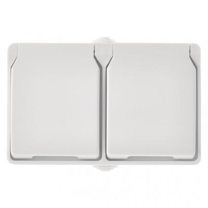 Emos A1397.3 Zásuvka nástěnná dvojitá, bílá, IP44