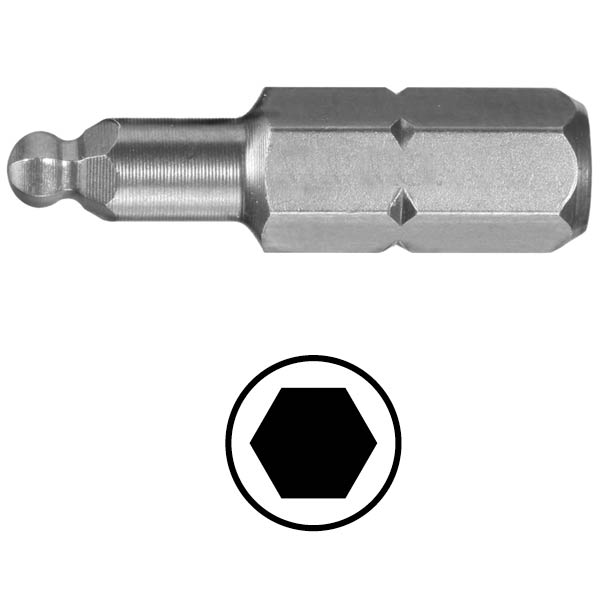 WEKADOR Bit šestihran 6 - 38 mm s kulovým zakončením Professional